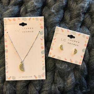 Lemon Wedge Stud Earrings and Necklace Set - NWT
